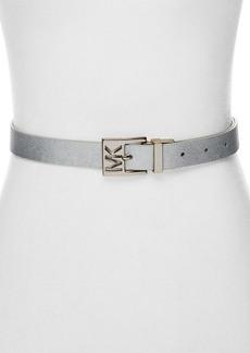 MICHAEL Michael Kors Reversible Metallic Embossed Logo Belt