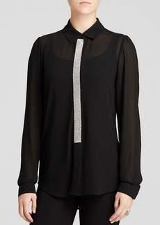 MICHAEL Michael Kors Rhinestone Placket Blouse