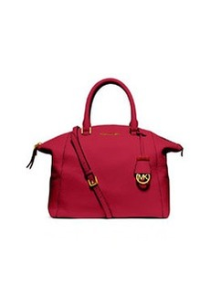 MICHAEL Michael Kors Riley Large Pebbled Leather Satchel Bag, Chili