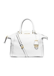 MICHAEL Michael Kors Riley Large Pebbled Leather Satchel Bag, Optic White