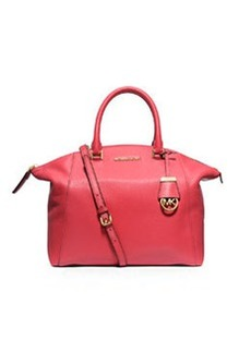 MICHAEL Michael Kors Riley Large Pebbled Leather Satchel Bag, Watermelon