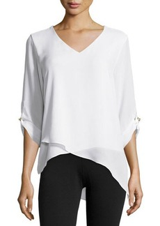 MICHAEL Michael Kors Roll-Sleeve Asymmetric Blouse