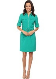 MICHAEL Michael Kors Roll Sleeve Belted Shirt Woven Dress