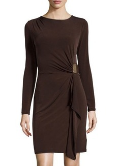 MICHAEL Michael Kors Ruched-Side Long-Sleeve Matte-Jersey Dress