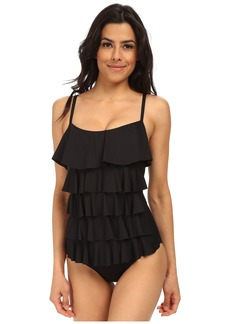 MICHAEL Michael Kors Ruffle Solids Cascading Front Ruffle Maillot