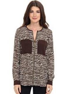 MICHAEL Michael Kors Savannah Zebra L/S Oversized Blouse