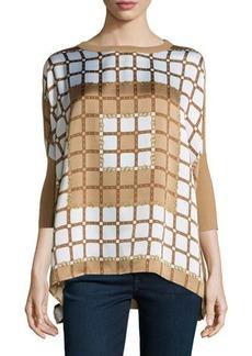 MICHAEL Michael Kors Scarf-Print 3/4-Sleeve Sweater