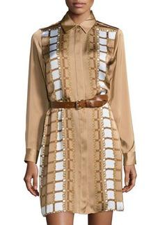 MICHAEL Michael Kors Scarf-Print Belted Long-Sleeve Shirtdress