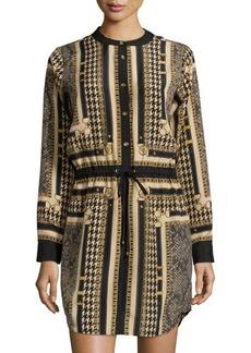 MICHAEL Michael Kors Scarf-Print Drawstring Long-Sleeve Dress