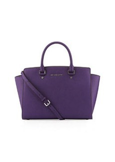MICHAEL Michael Kors Selma Large Saffiano Satchel Bag, Grape