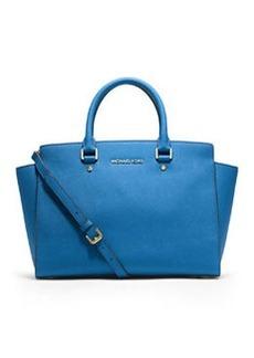 MICHAEL Michael Kors Selma Large Saffiano Satchel Bag, Heritage Blue