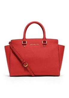 MICHAEL Michael Kors Selma Large Saffiano Satchel Bag, Mandarin