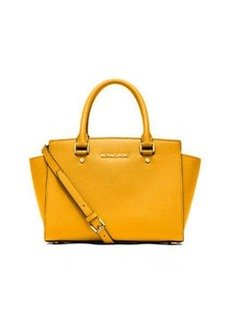 MICHAEL Michael Kors Selma Medium Top-Zip Satchel Bag, Sun