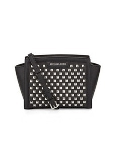 MICHAEL Michael Kors Selma Pyramid-Stud Medium Messenger Bag, Black