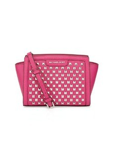 MICHAEL Michael Kors Selma Pyramid-Stud Medium Messenger Bag, Raspberry