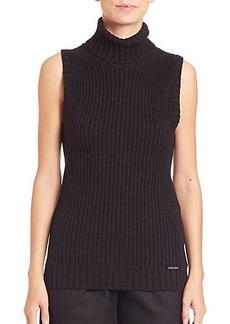 MICHAEL MICHAEL KORS Shaker Sleeveless Turtleneck Sweater