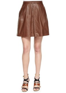 MICHAEL Michael Kors Sheepskin Leather Pleated Skirt