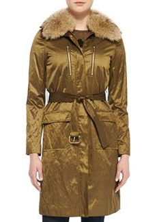 MICHAEL Michael Kors Shiny Fur-Collar Puffer Coat