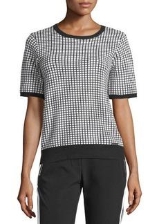 MICHAEL Michael Kors Short-Sleeve Plaid Sweater Top