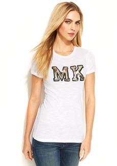MICHAEL Michael Kors Petite Short-Sleeve Sequined Logo Tee