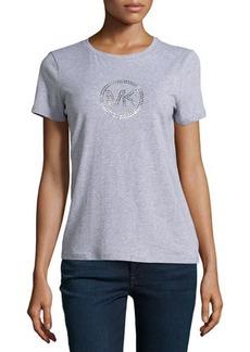 MICHAEL Michael Kors Short-Sleeve Studded Logo Tee