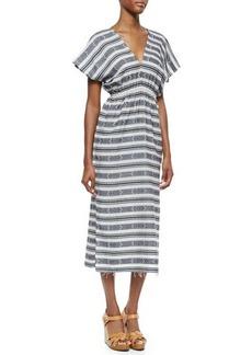 MICHAEL Michael Kors Short-Sleeve V-Neck Printed Long Dress