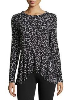 MICHAEL Michael Kors Shoulder-Zip Leopard-Print Peplum Top