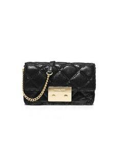 MICHAEL Michael Kors Sloan Quilted Snake-Print Crossbody Bag, Black