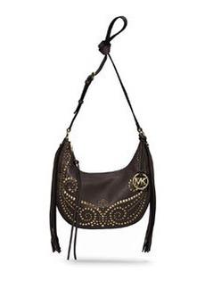 MICHAEL Michael Kors Small Rhea Studded Shoulder Bag, Dark Chocolate