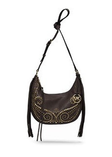 MICHAEL Michael Kors Small Rhea Studded Shoulder Bag, Dark Chocolate