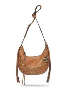MICHAEL Michael Kors Small Rhea Studded Shoulder Bag, Luggage