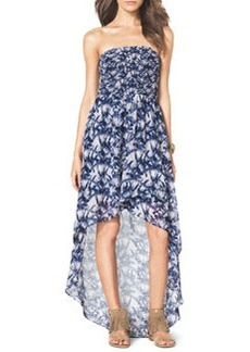 MICHAEL Michael Kors Smock-Bodice Strapless Maxi Dress