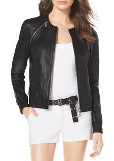 MICHAEL Michael Kors Smock-Trim Leather Jacket