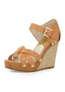 MICHAEL Michael Kors Somerly Leather Wedge Sandal, Peanut
