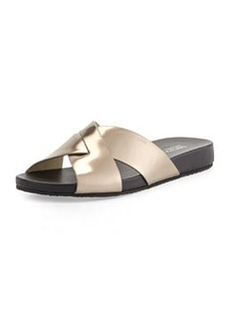 MICHAEL Michael Kors Somerly Metallic Crisscross Slide Sandal, Nickel