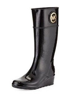MICHAEL Michael Kors Stockard Rubber Wedge Rain Boot, Black