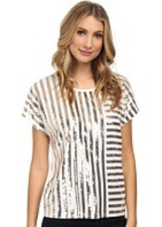 MICHAEL Michael Kors Stripe Mix Sequin Top
