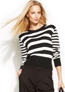 MICHAEL Michael Kors Petite Striped Cotton-Blend Sweater