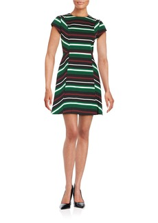 MICHAEL MICHAEL KORS Striped Fit-and-Flare Dress