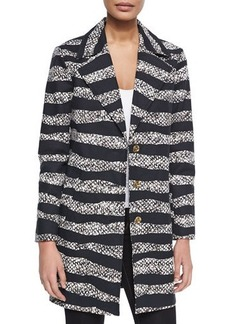 MICHAEL Michael Kors Striped Long Overcoat  Striped Long Overcoat