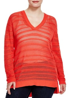 MICHAEL Michael Kors Striped Open Knit Sweater