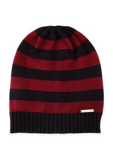 MICHAEL Michael Kors Striped Ribbed-Trim Slouchy Hat