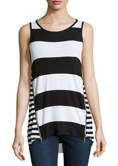 MICHAEL Michael Kors Striped Side-Zip Tank