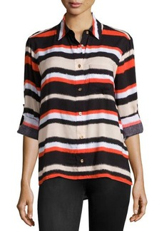 MICHAEL Michael Kors Striped Tab-Sleeve Blouse
