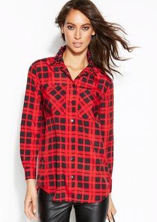 MICHAEL Michael Kors Petite Stud-Collar Plaid Shirt
