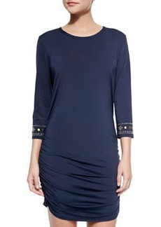 MICHAEL Michael Kors Stud-Sleeve Ruched Coverup Dress