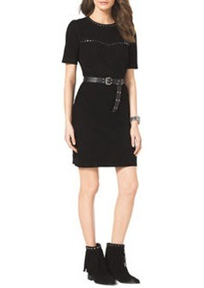 MICHAEL Michael Kors Studded Belted Suede Dress