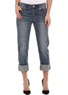 MICHAEL Michael Kors Studded Cuff BF Jeans in Medium Vintage Wash