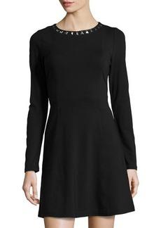 MICHAEL Michael Kors Studded-Neck Fit & Flare Dress