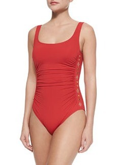 MICHAEL Michael Kors Studded Ruched One-Piece Swimsuit